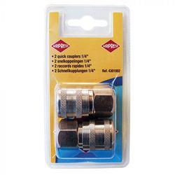 Compressor snelkoppeling 1/4'' inwendig schroefdraad 2 stuks