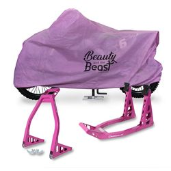 Roze paddockstands en motorhoes - beauty and the beast collection 1