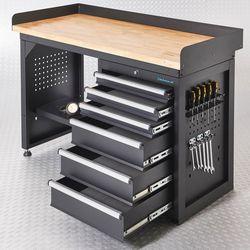 Werkbank PRO - bamboe werkblad - 6 lades - 150 cm - zwart