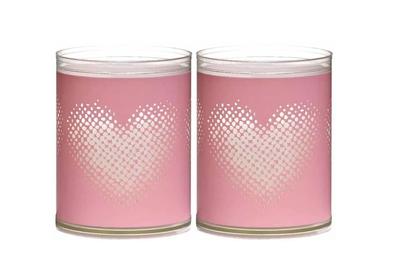 Bolsius kaarsen Sparkle Light hart roze - 2 stuks