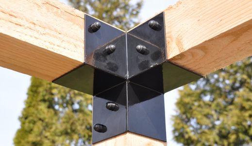 Pergola hoekverbinding zwart 15x15 cm
