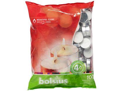Bolsius theelichten 4 uren wit - 100 stuks