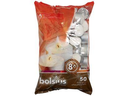 Bolsius theelichten 8 uren wit - 50 stuks