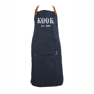 KOOK Keukenschort Vintage Blauw