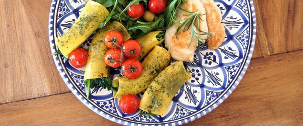 Cannelloni met spinazie, oventomaatjes en kip