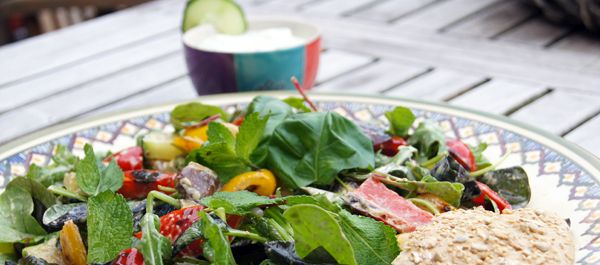 Maaltijdsalade met gegrilde groenten