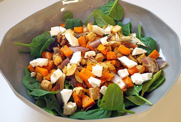 Spinaziesalade met gegrilde groente