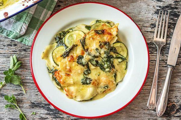 Vegetarische lasagne met spinazie en fetakaas