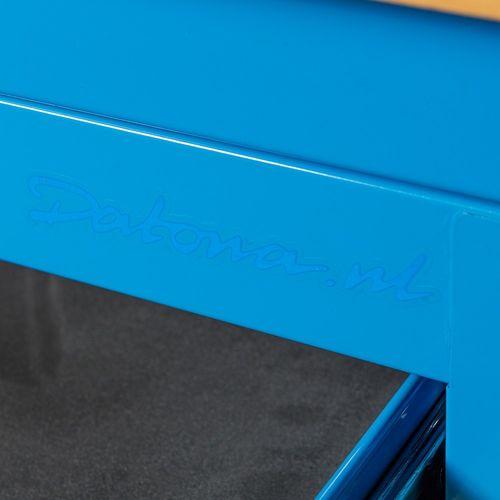 Hoekwerkbank met MDF blad + gereedschapskast blauw 6