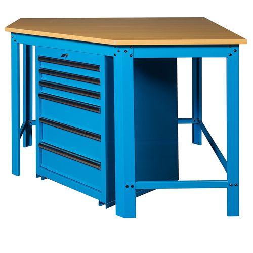 Hoekwerkbank met MDF blad + gereedschapskast blauw 2