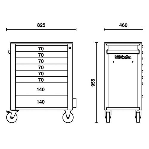 Beta verplaatsbare gereedschapswagen met 7 laden grijs