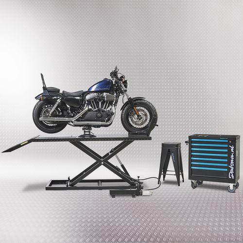 Harley motor op heftafel met minilift zwart
