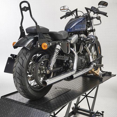 Zwarte motorheftafel 450 kg met Harley motor