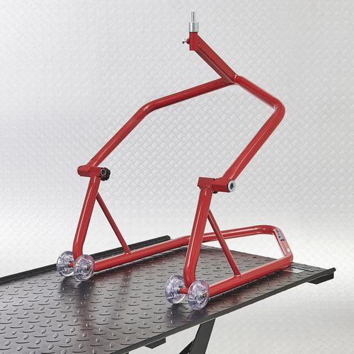 Motorheftafel met paddockstand voorwiel