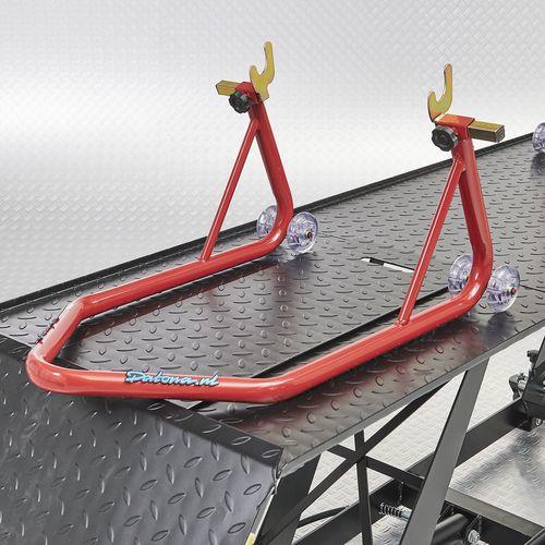 Motorheftafel met paddockstand achterwiel