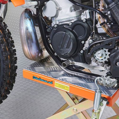 Aluminium bovenplaat op de KTM crosslift