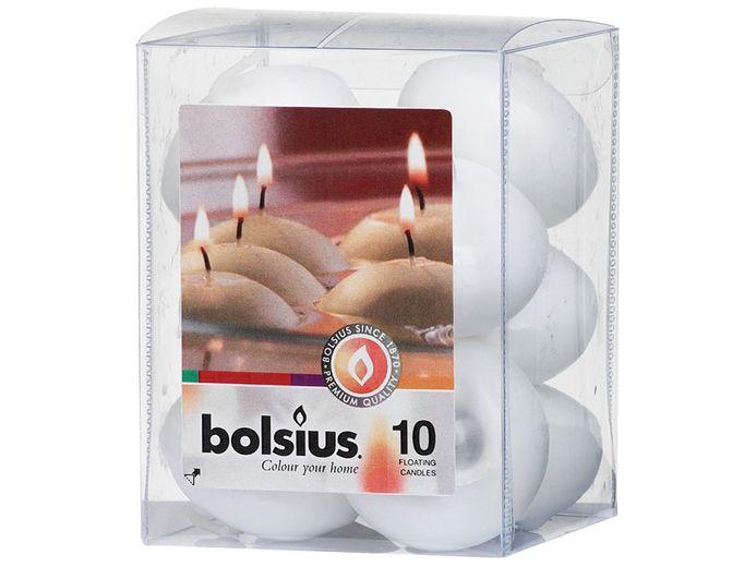 Bolsius drijfkaarsen wit 10 stuks