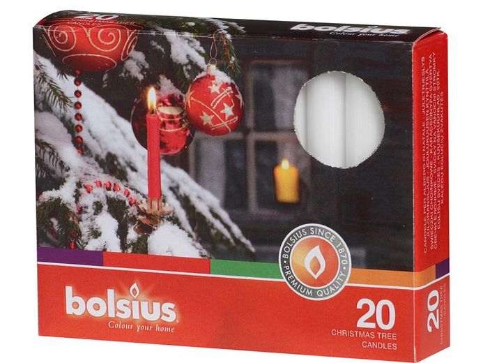 Bolsius kerstboomkaarsjes wit