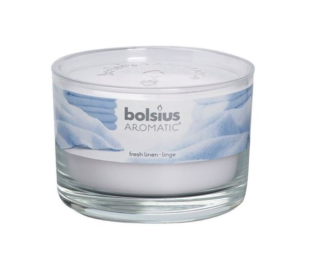 Bolsius geurkaars in glas Aromatic Fresh Linen 63/90 mm