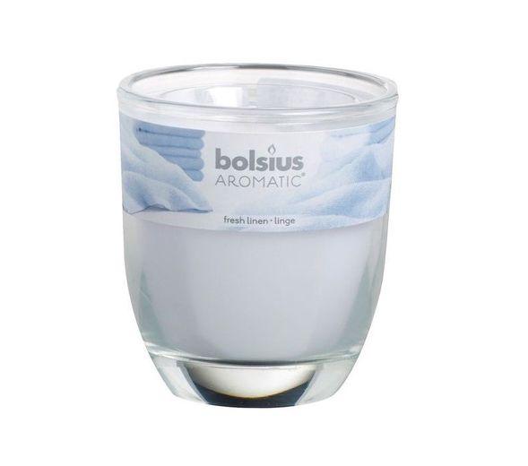 Bolsius geurkaars in glas Aromatic Fresh Linen 80/70 mm