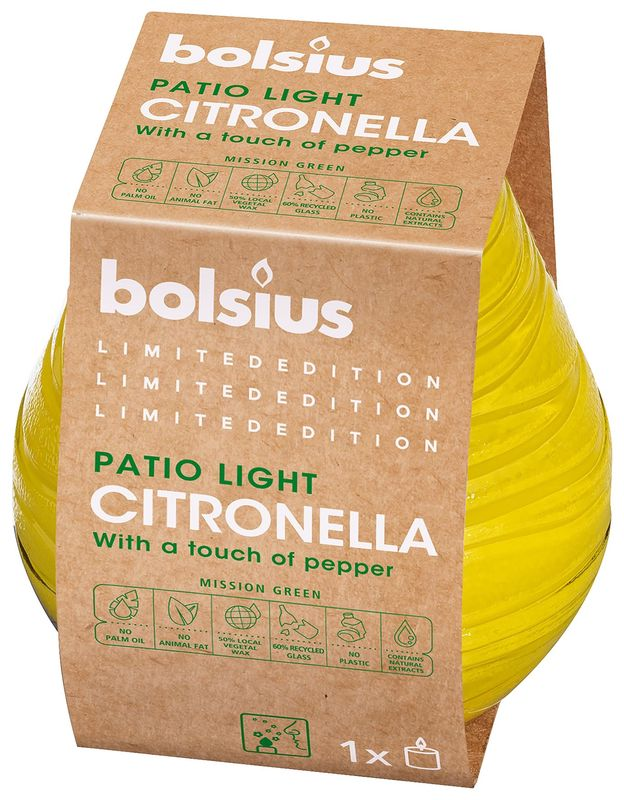 Bolsius Patiolight Divine Earth Citronella 94/91 mm
