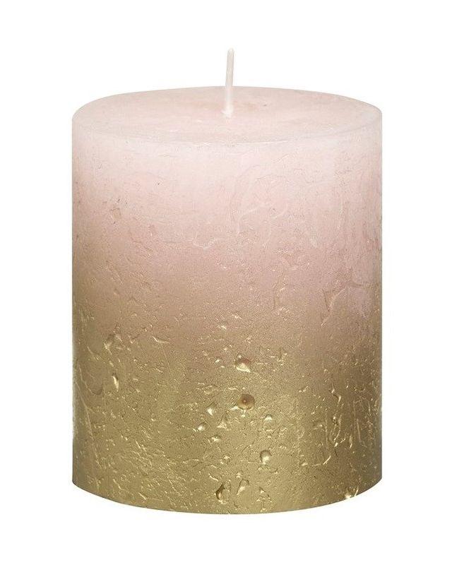 Bolsius stompkaars Fading goud & roze 80/68 mm