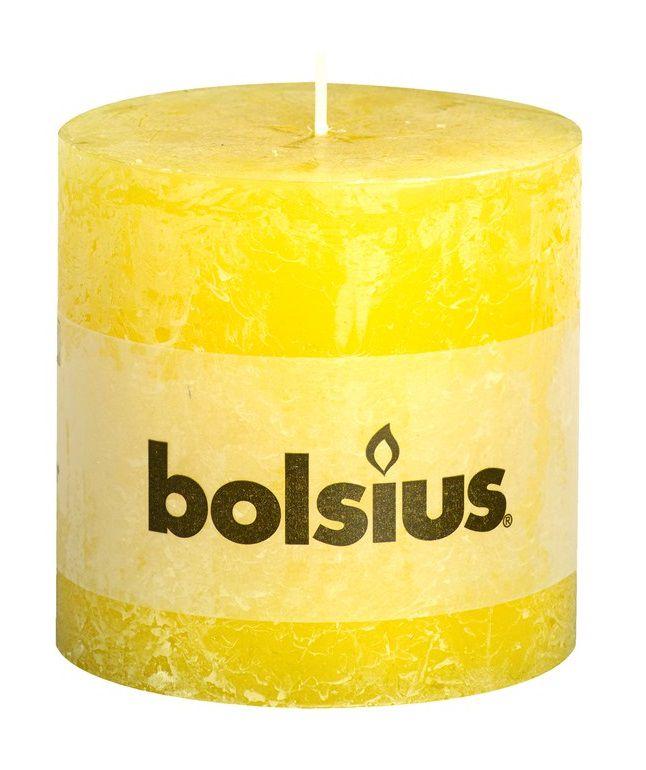 Bolsius stompkaars Rustiek XXL zonnegeel 100/100 mm