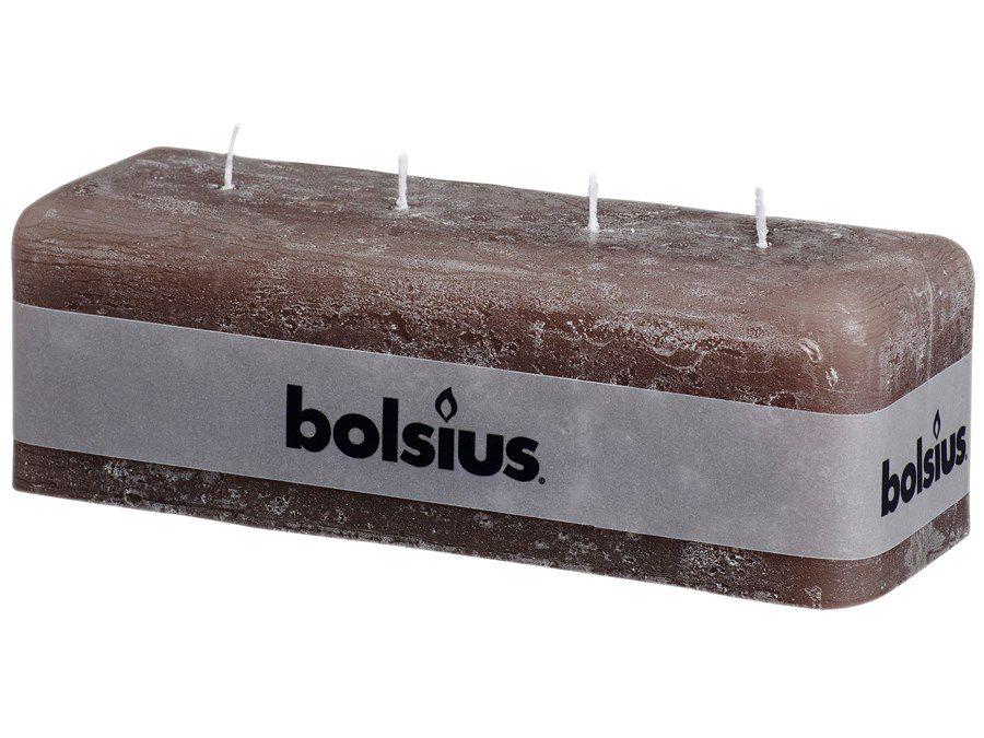 Bolsius multi lontkaars Rustiek met 4 lonten taupe