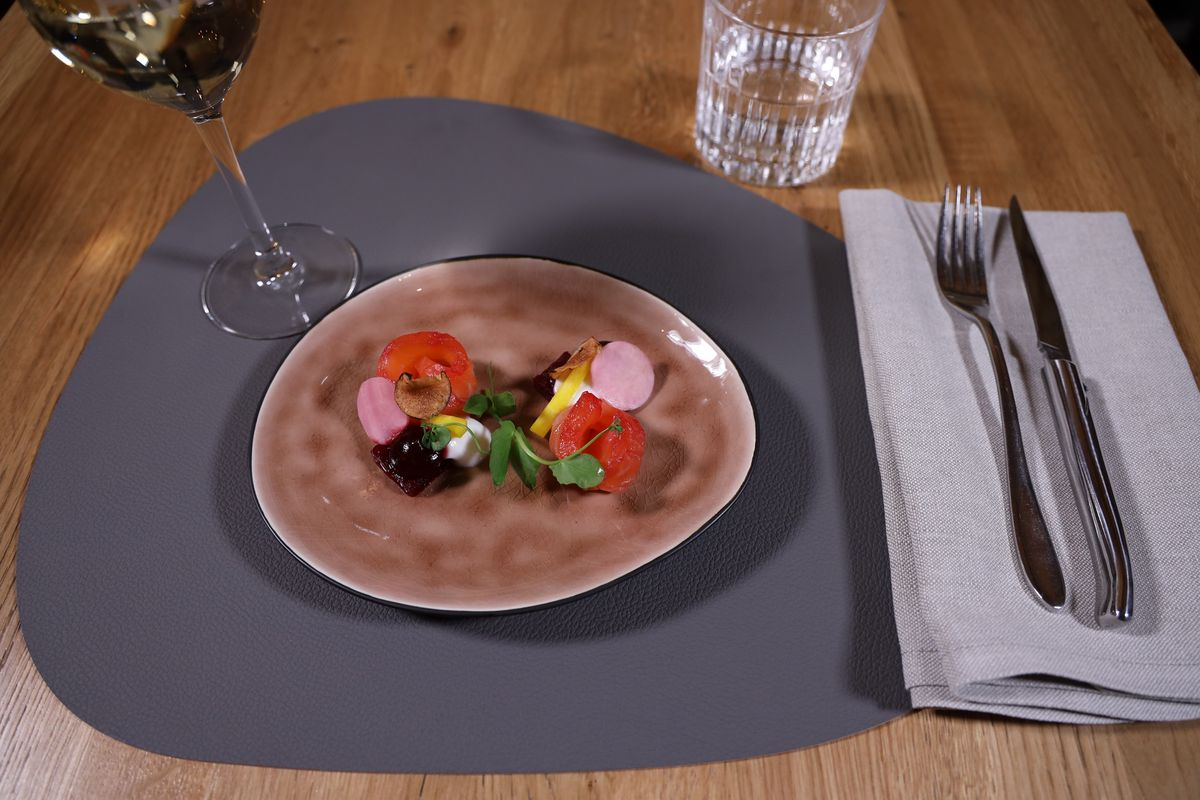 Jay Hill Placemat Leer Donkergrijs Roze