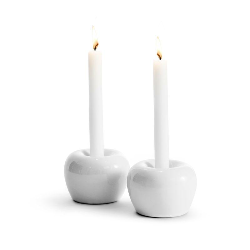Born in Sweden Apple kandelaar ø 5cm - wit - 2 stuks