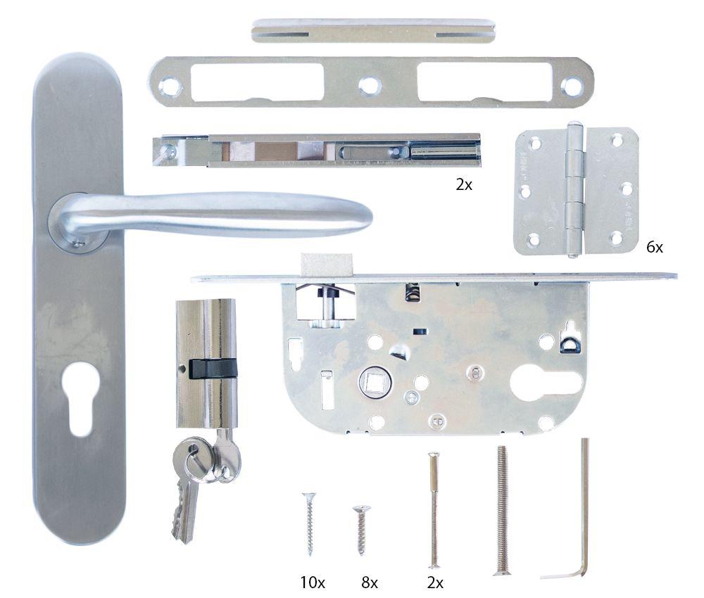 Complete beslagset RVS voor tuindeuren inclusief slotkast, cilinderslot en scharnieren
