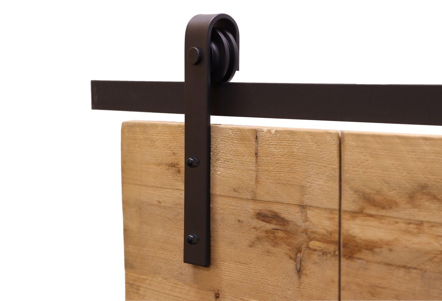 Zwart Schuifdeursysteem met Rails - Recht Model Compleet 200 cm - Per Set